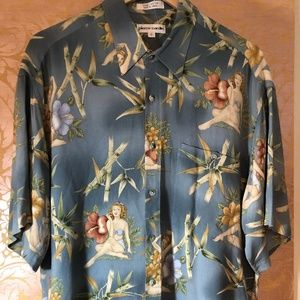Vtg Hawaiian Rayon Pin Up Girl Shirt Pierre Cardin